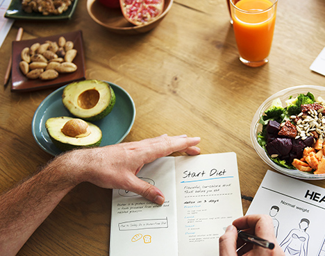 Diet plan on a table next to avocados